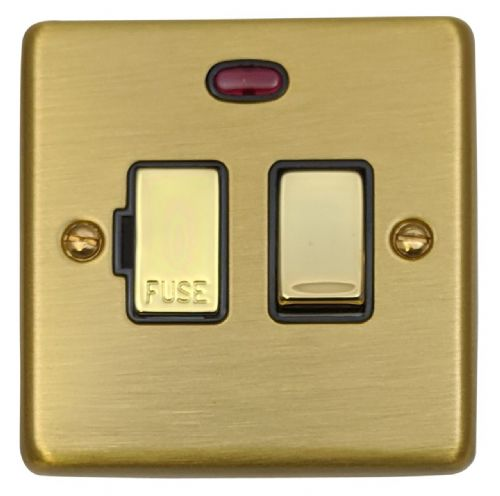 G&H CSB327 Standard Plate Satin Brushed Brass 1 Gang Fused Spur 13A Switched & Neon